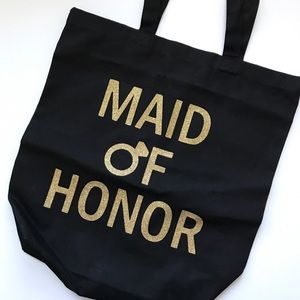 Maid Of Honor Black & Gold Glitter Tote Bag